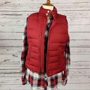 Ann Taylor LOFT Petites Red Down Puffer Vest